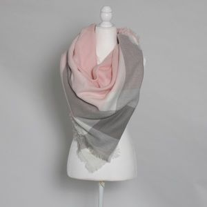 pink and grey striped square scarf